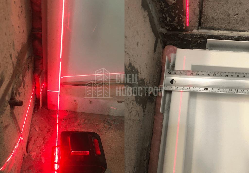 Отклонение дверной коробки от вертикали (12 мм)