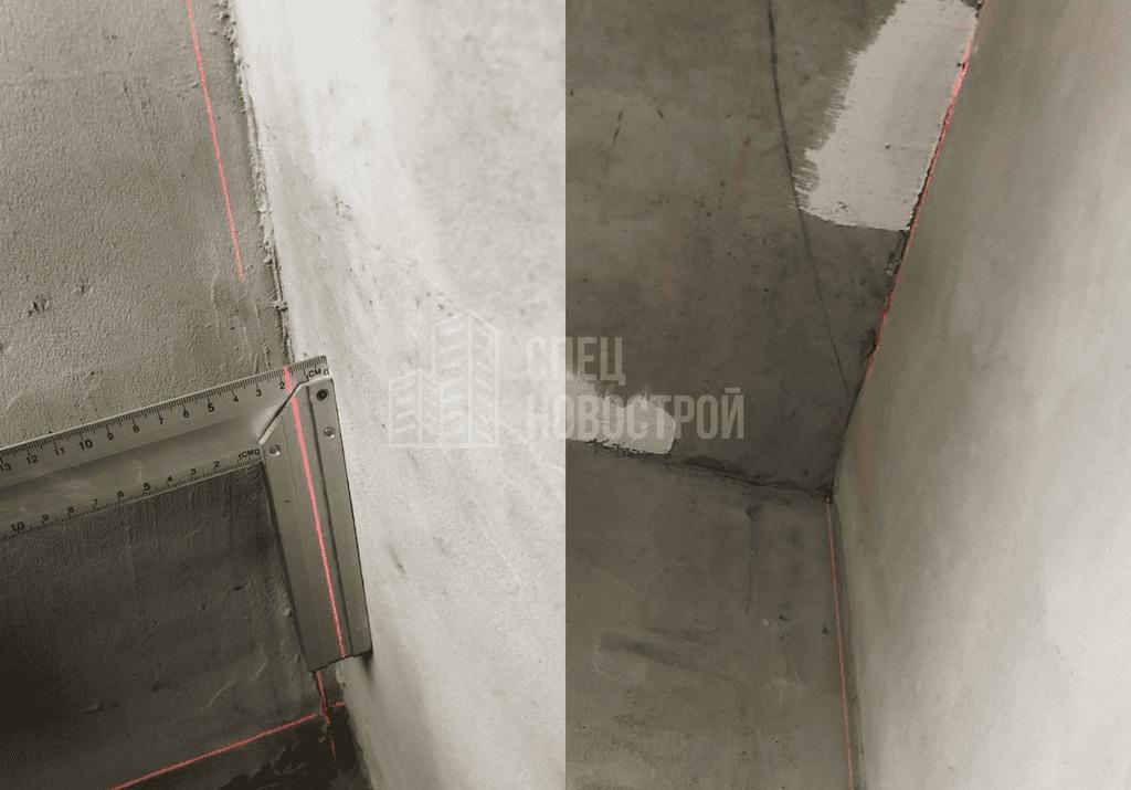 Стена в примыкании к монолитному пилону имеет отклонение от вертикальной оси на 25 мм