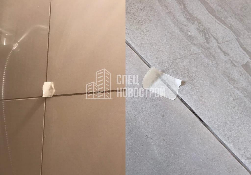 Неровно положена плитка в ванной