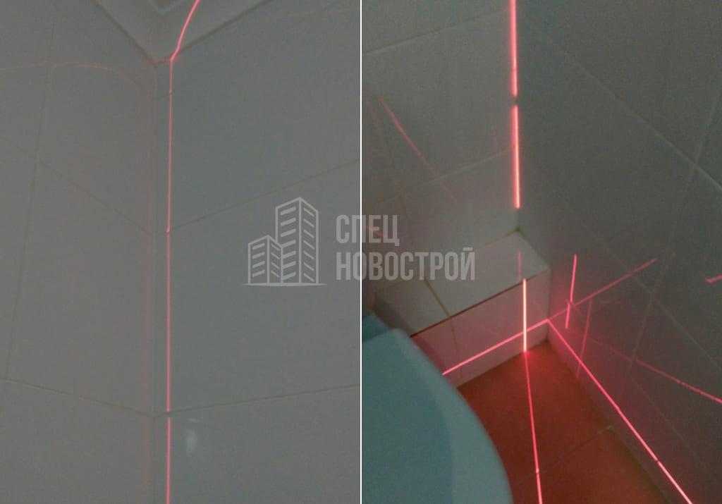 отклонение стены от вертикали 15 мм (в санузле)