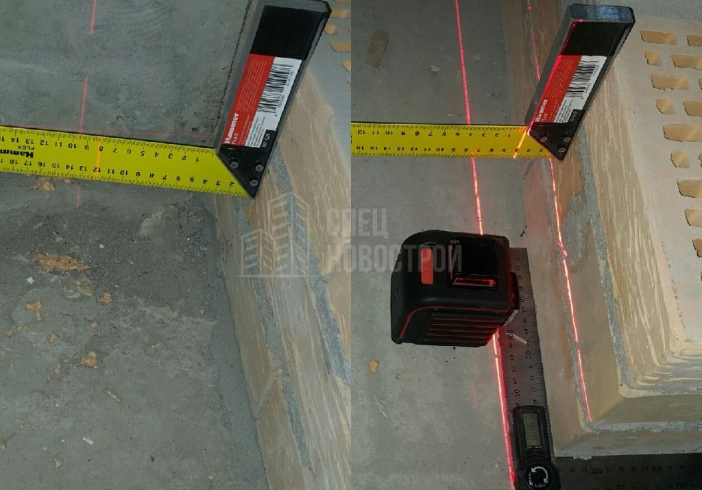 Не прямой угол между стеной и кирпичной перегородкой. Отклонение по всей длине (до 80мм).