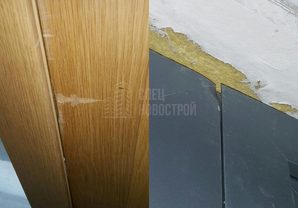 Повреждение профиля левой створки окна лоджии