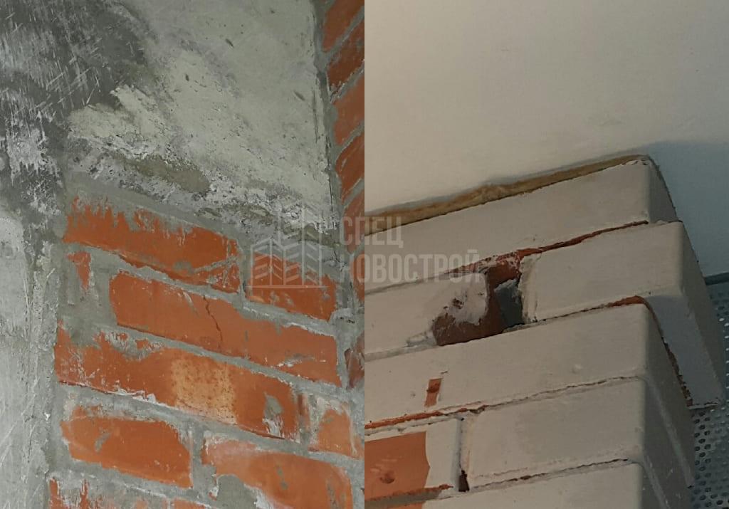 Трещины, дефекты кладки кирпичных  стен и перегородок