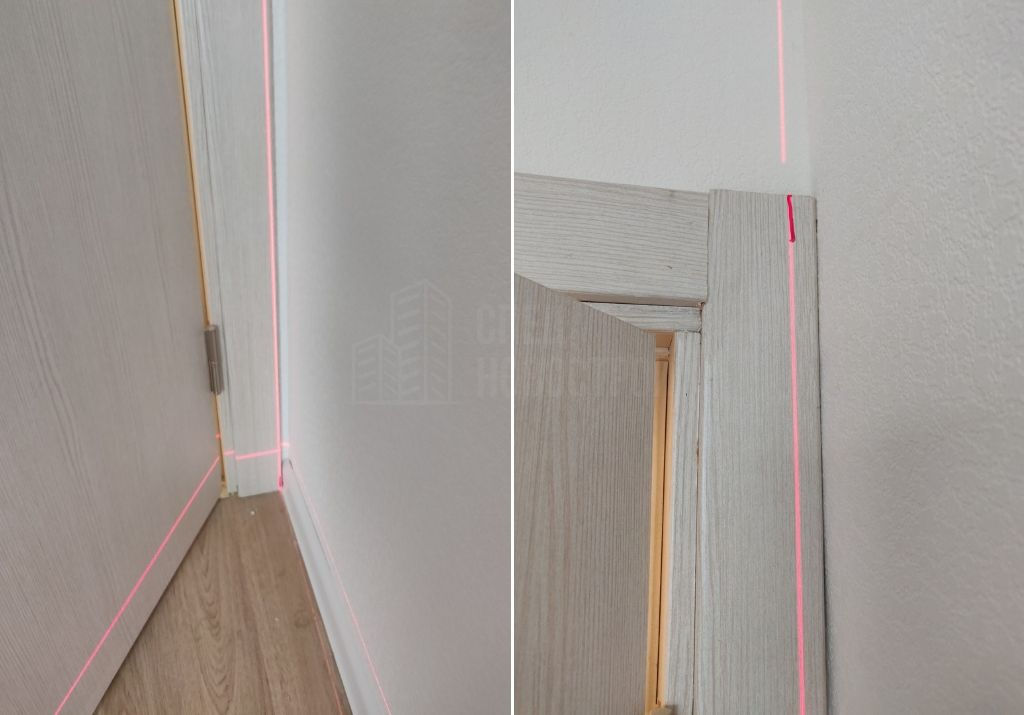 отклонение дверной коробки от вертикали 15 мм
