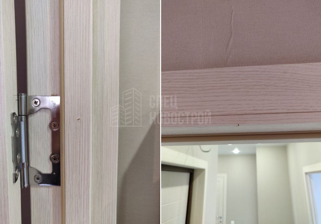 сколы на ламинированном покрытии дверных коробок межкомнатных дверей