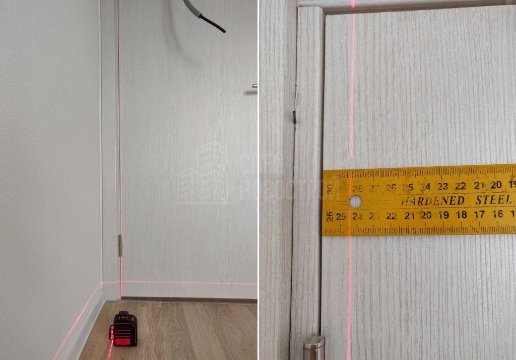отклонение дверной коробки от вертикали 16 мм