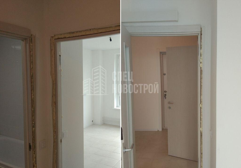 не в полном объеме смонтированы дверные коробки по всей квартире (отсутствуют наличники)