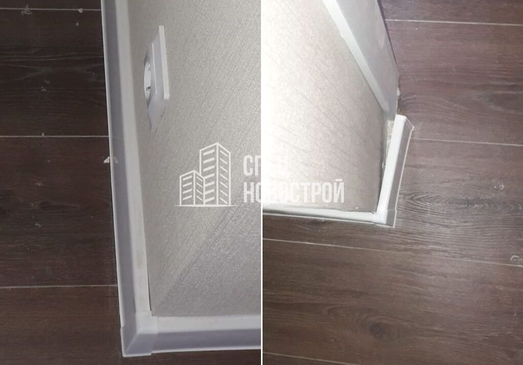 некачественно смонтирован напольный плинтус во всей квартире (не прилегает к стене и к полу, замяты резинки)