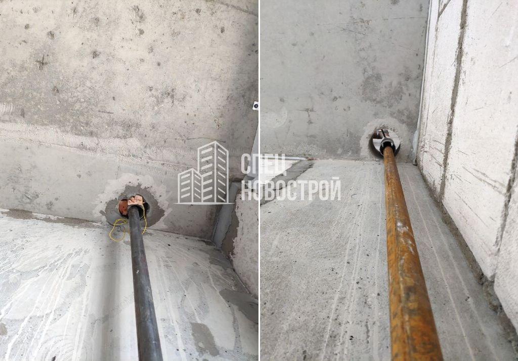некачественно заделаны технологические отверстия прохода труб через плиты перекрытий