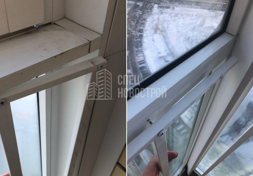 не закреплена часть ограждения балкона