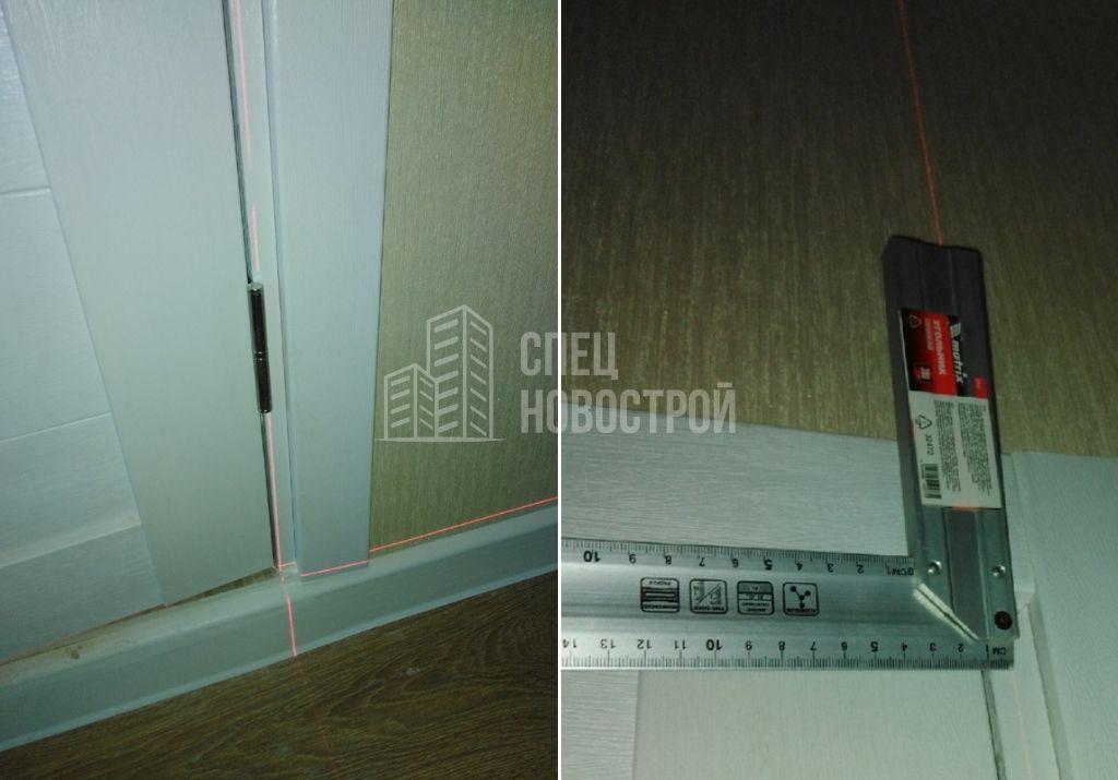 отклонение дверной коробки от вертикали на 9 мм