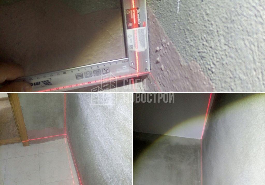 отклонение уровня перегородки от вертикали на 20 мм