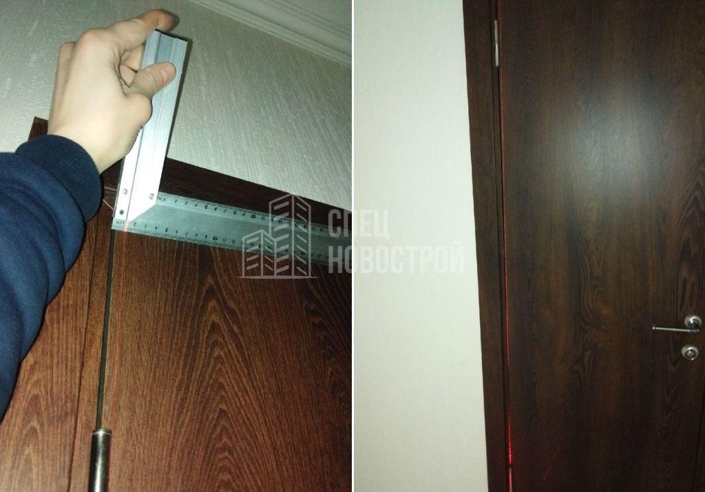 отклонение дверной коробки от вертикали на 12 мм