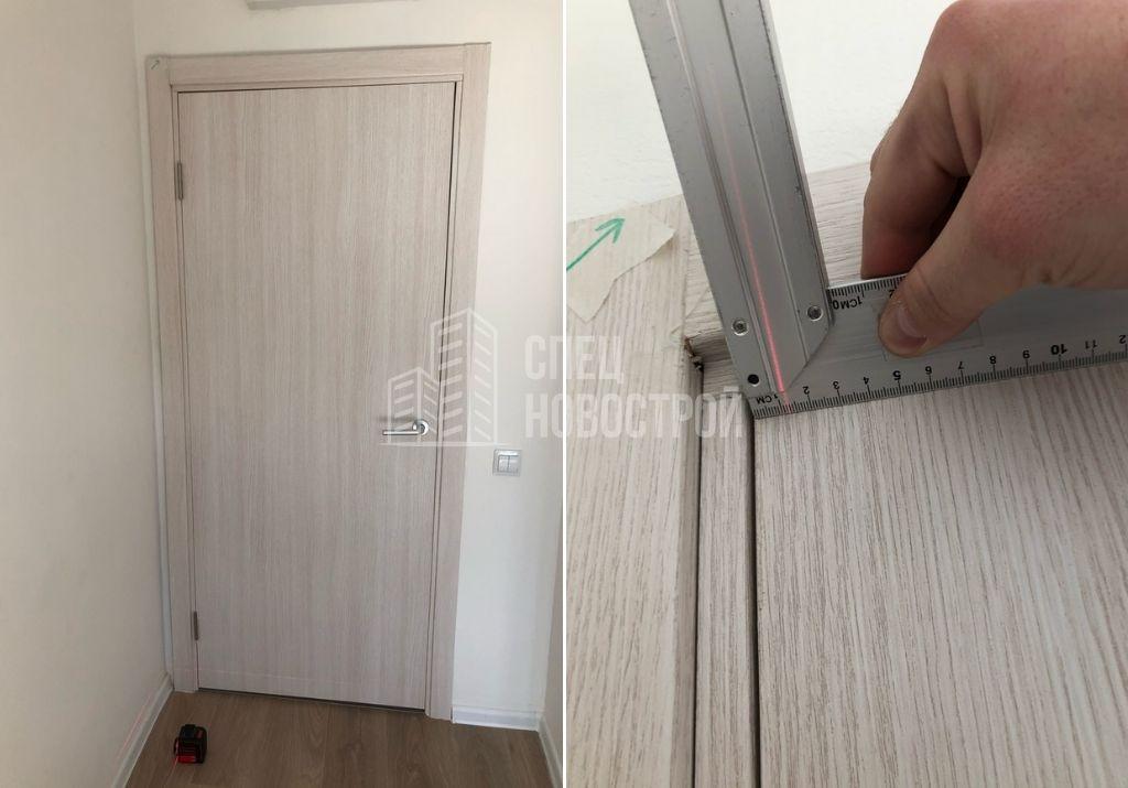 отклонение дверной коробки от вертикали на 13 мм