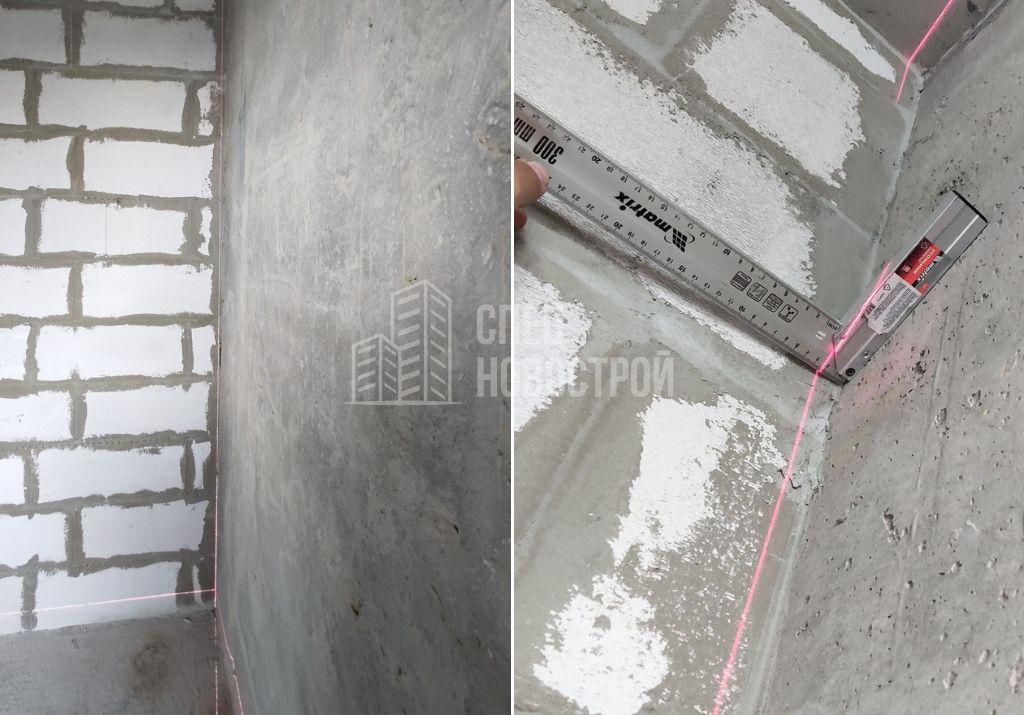 отклонение уровня монолитной стены от вертикали на 20-25 мм