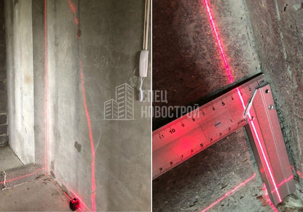 отклонение стены от вертикали на 32 мм