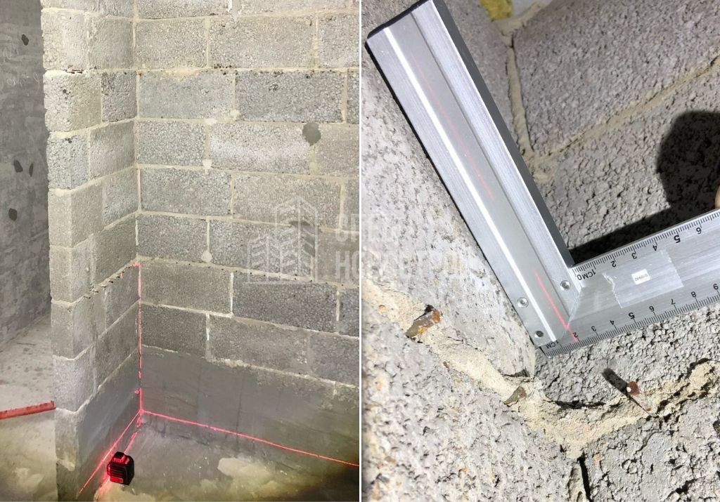 отклонение стены санузла из кладки керамзитобетона на 19 мм