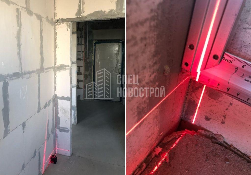 отклонение стены от вертикали на 19 мм