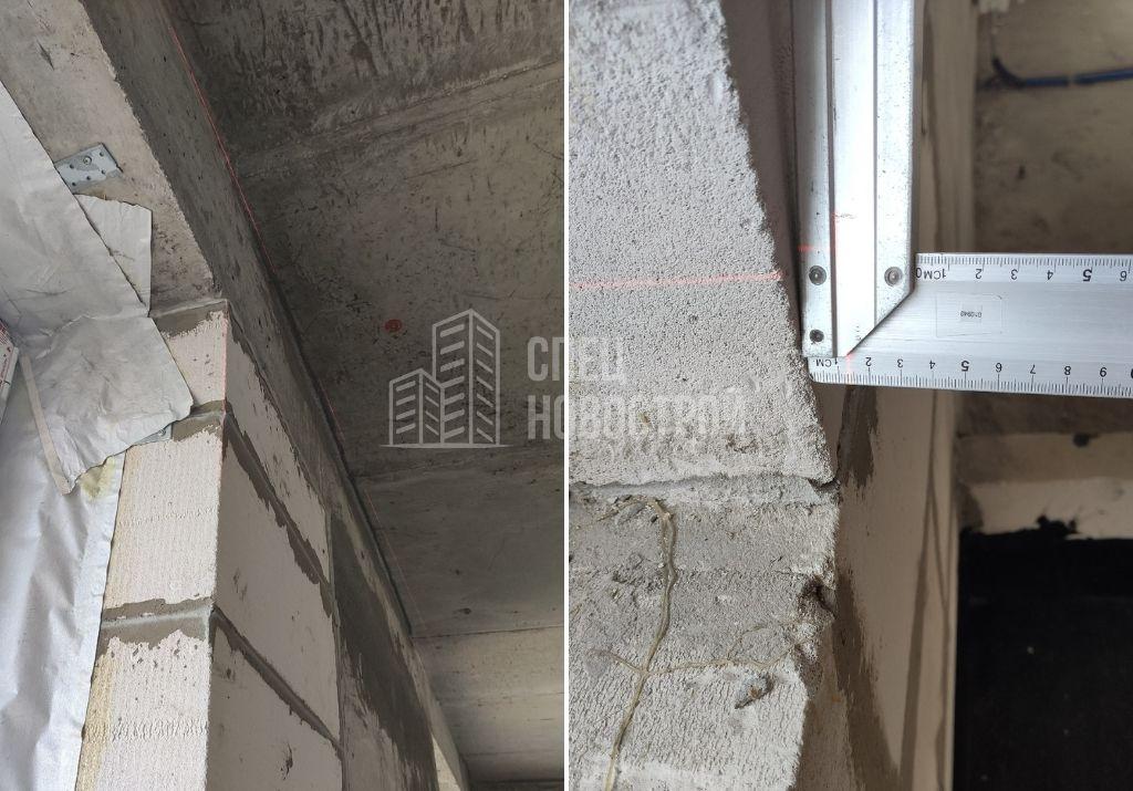 отклонение кладки от вертикали на 14 мм