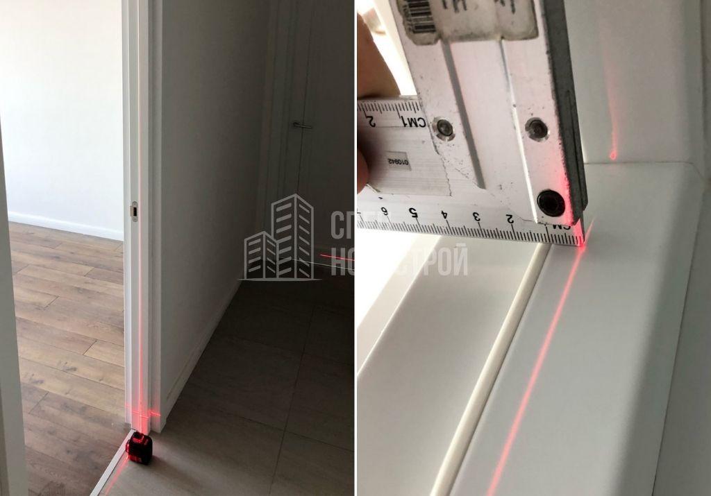 отклонение дверного короба комнаты от плоскости стены на 10 мм