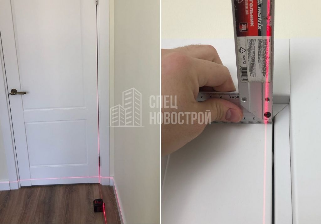 отклонение дверного короба от вертикали на 7 мм