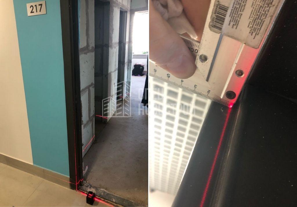 отклонение короба входной двери от плоскости стены на 15 мм