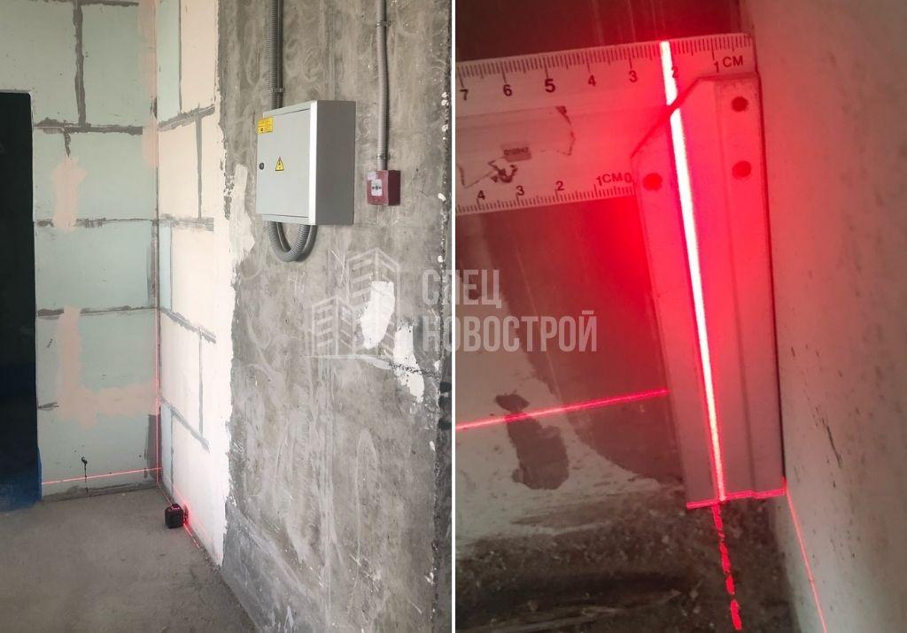 отклонение стены коридора от вертикали на 22 мм