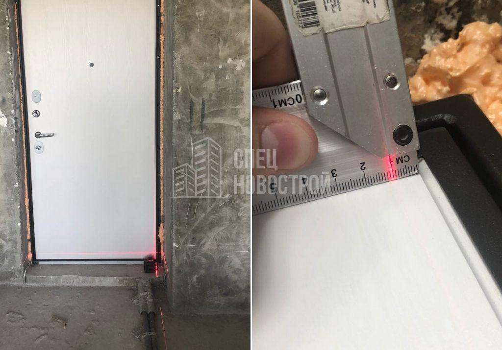 отклонение коробки входной двери от вертикали на 10 мм