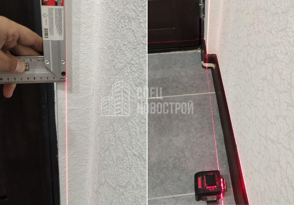 отклонение откоса входной двери от вертикали на 15 мм (неровности плавного очертания)