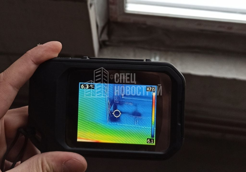 инфильтрация наружного воздуха в районе нижнего монтажного шва в месте примыкания оконного блока