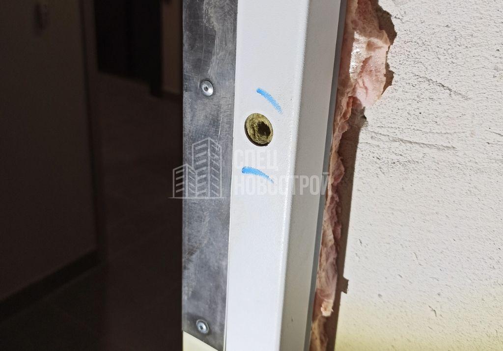 отсутствуют декоративные элементы на анкерном креплении дверного короба входной двери