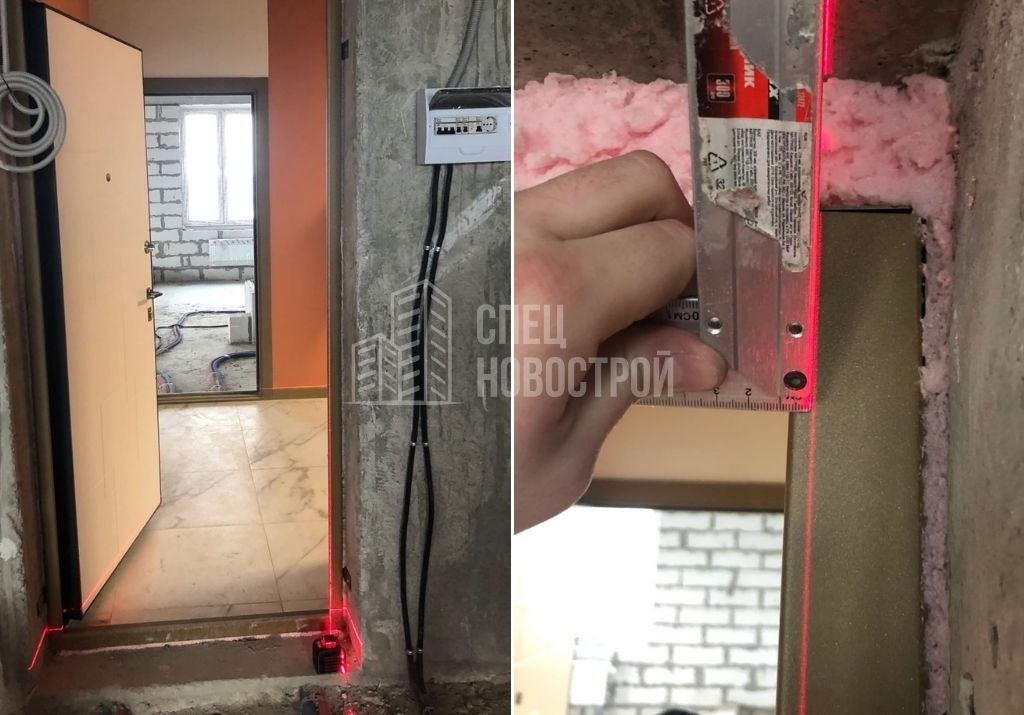 отклонение коробки входной двери от вертикали на 7 мм