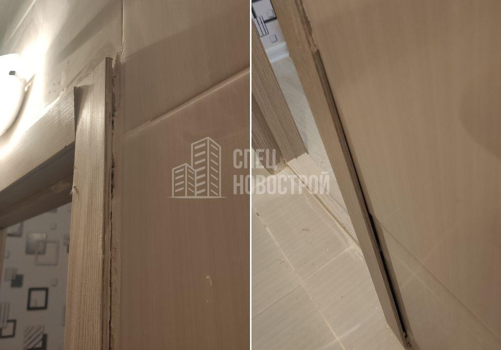 неплотное прилегание наличника межкомнатной двери к настенной плитке (зазоры, остатки герметика)