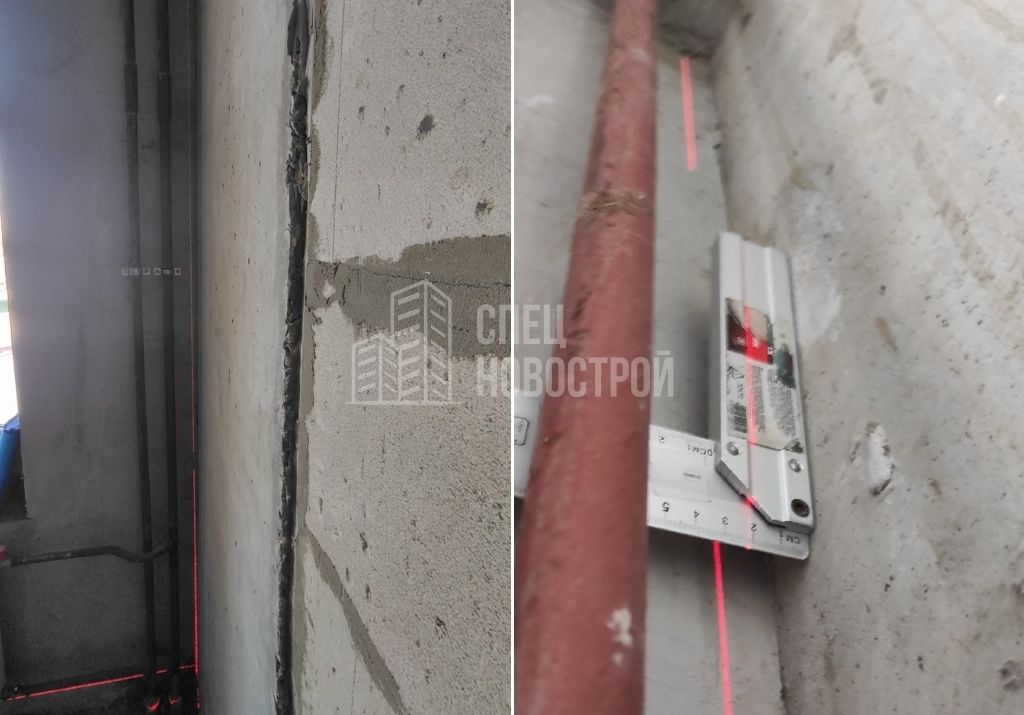 отклонение монолитного пилона от вертикальной плоскости на 21 мм