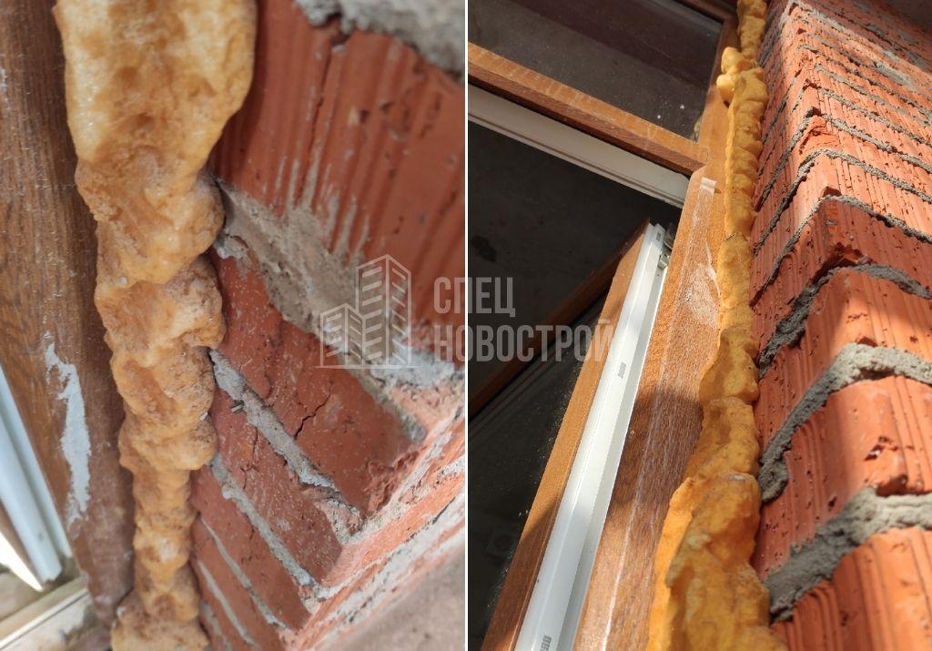отсутствует ПСУЛ по периметру монтажного шва оконного блока, не удалены излишки монтажной пены