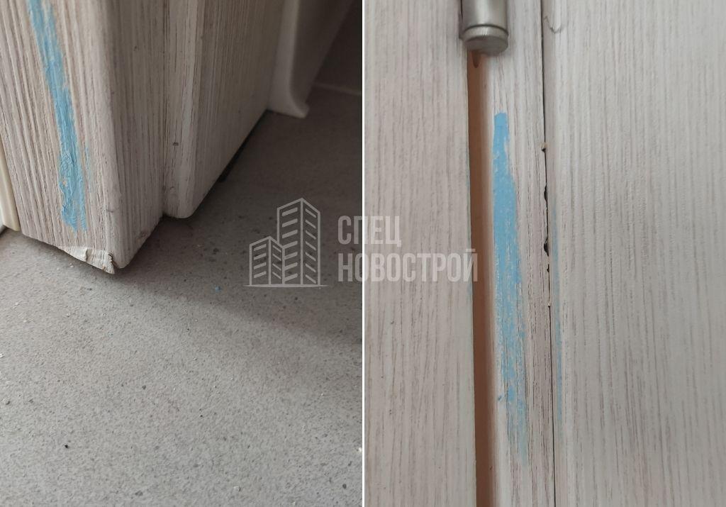 повреждения ламинации на элементах дверных блоков