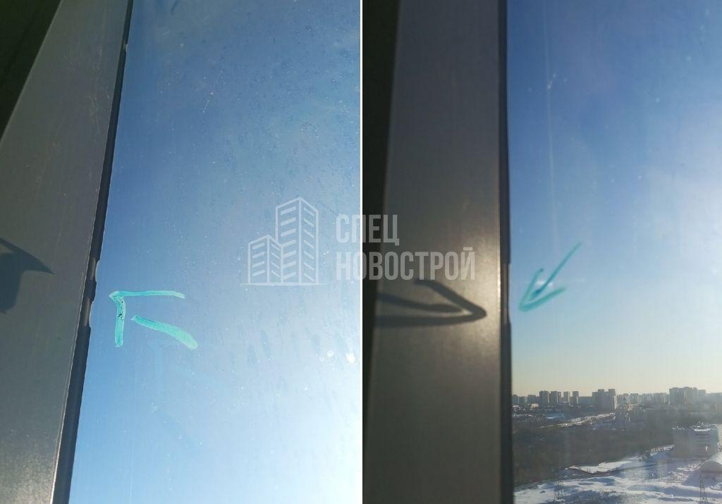 замятие уплотнителя стеклопакета левой верхней створки