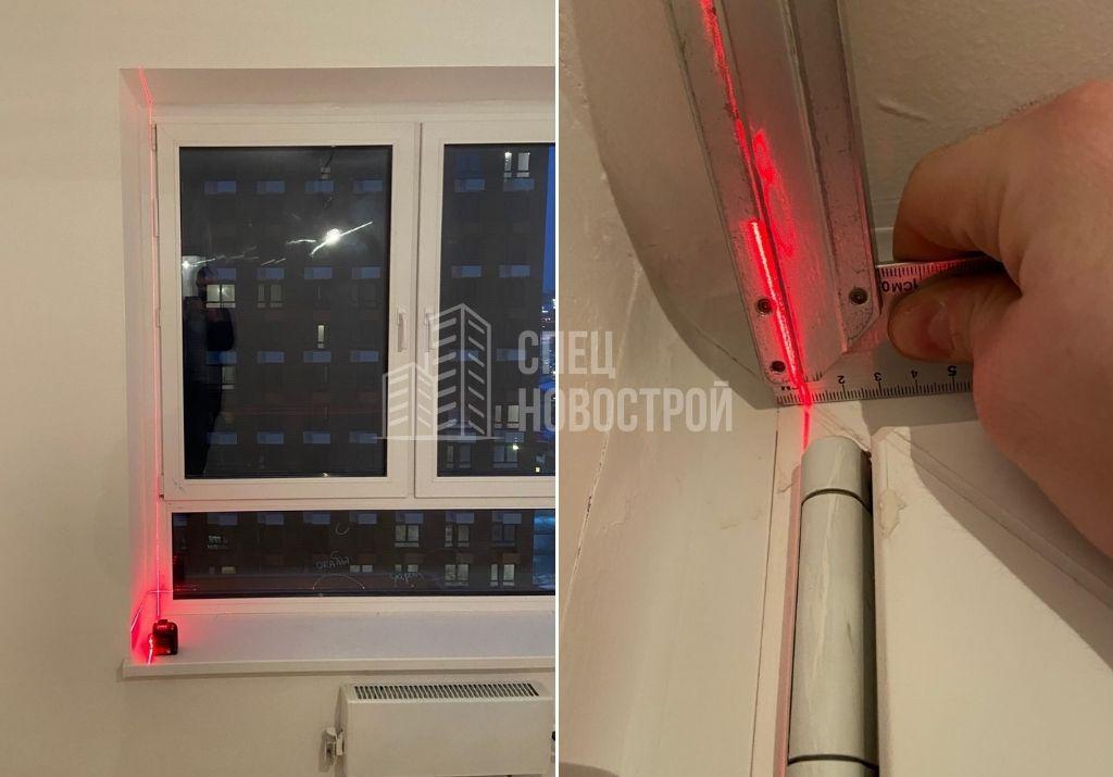 отклонение оконного блока от вертикали на 7 мм