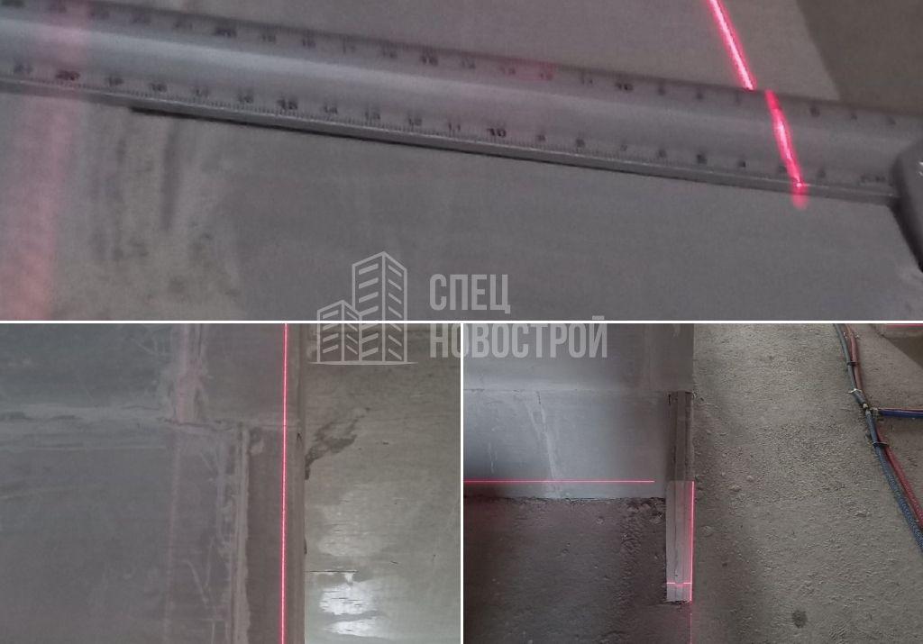 отклонение стены из пазогребневой кладки от вертикали на 27 мм