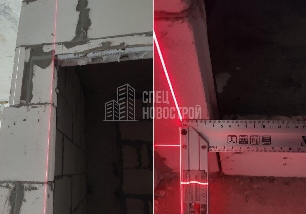 отклонение дверного проема от вертикали на 35 мм