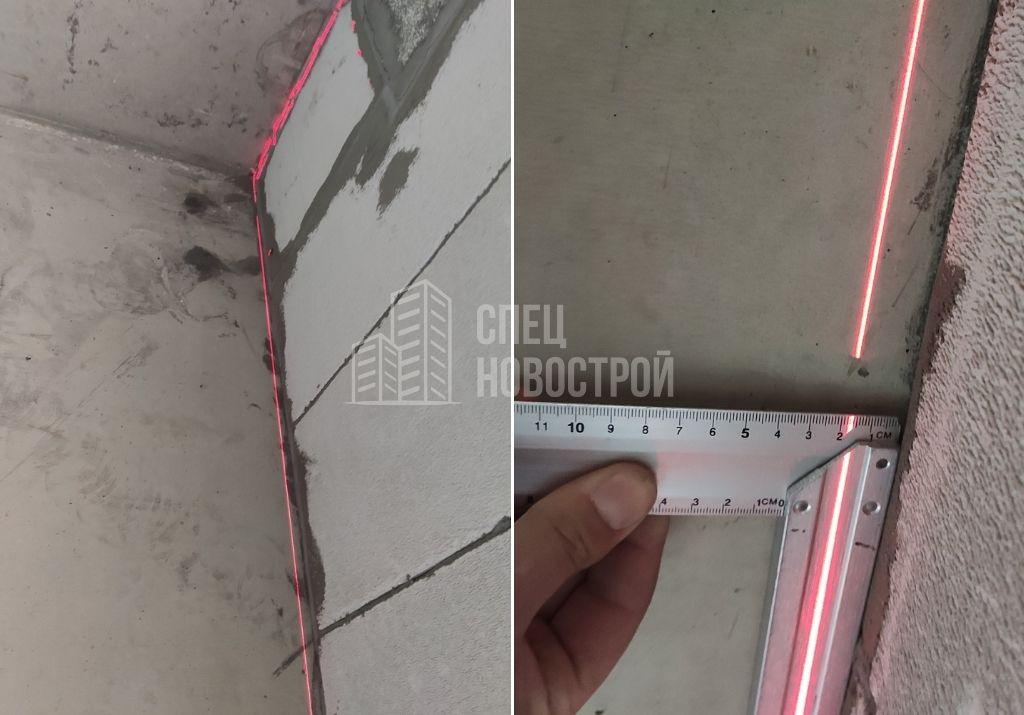 отклонение стены от вертикали на 18 мм