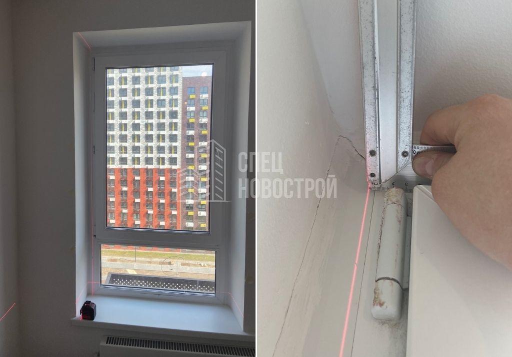 отклонение оконного блока от вертикали на 6 мм