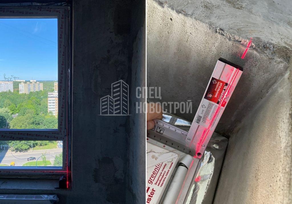 отклонение оконного блока от вертикали на 9 мм