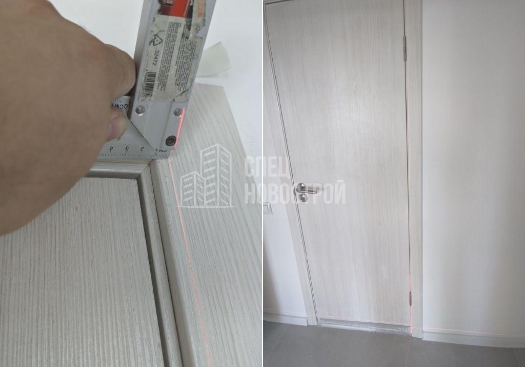 отклонение дверного короба межкомнатной двери от вертикали на 12 мм
