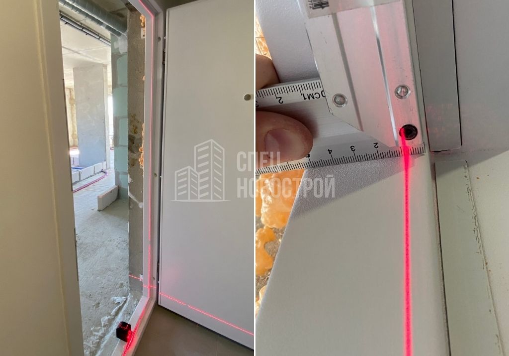 отклонение короба входной двери от вертикали на 7 мм