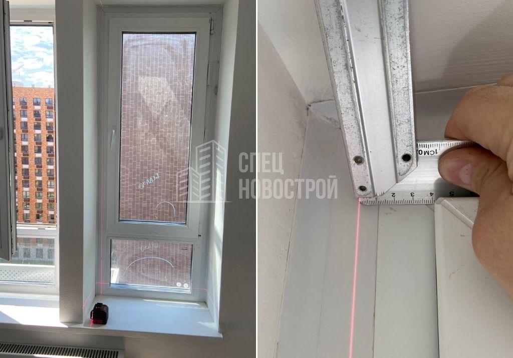 отклонение оконного блока от вертикали на 11 мм