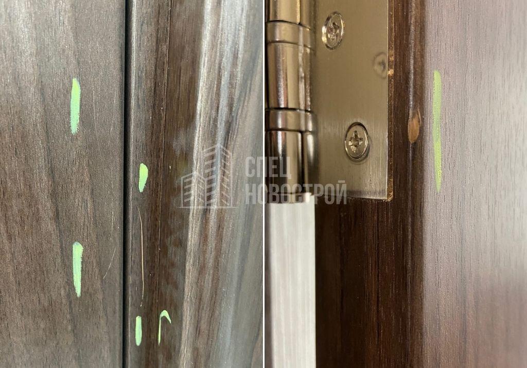 повреждения ламинации коробок и полотен межкомнатных дверей