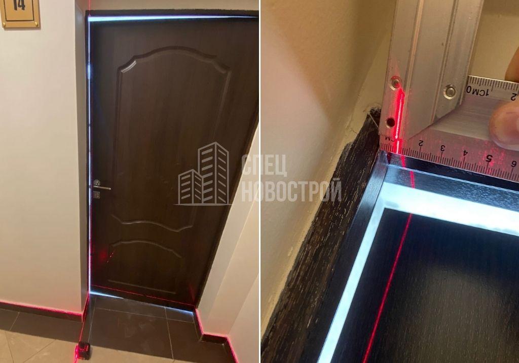 отклонение короба входной двери от вертикали на 8 мм