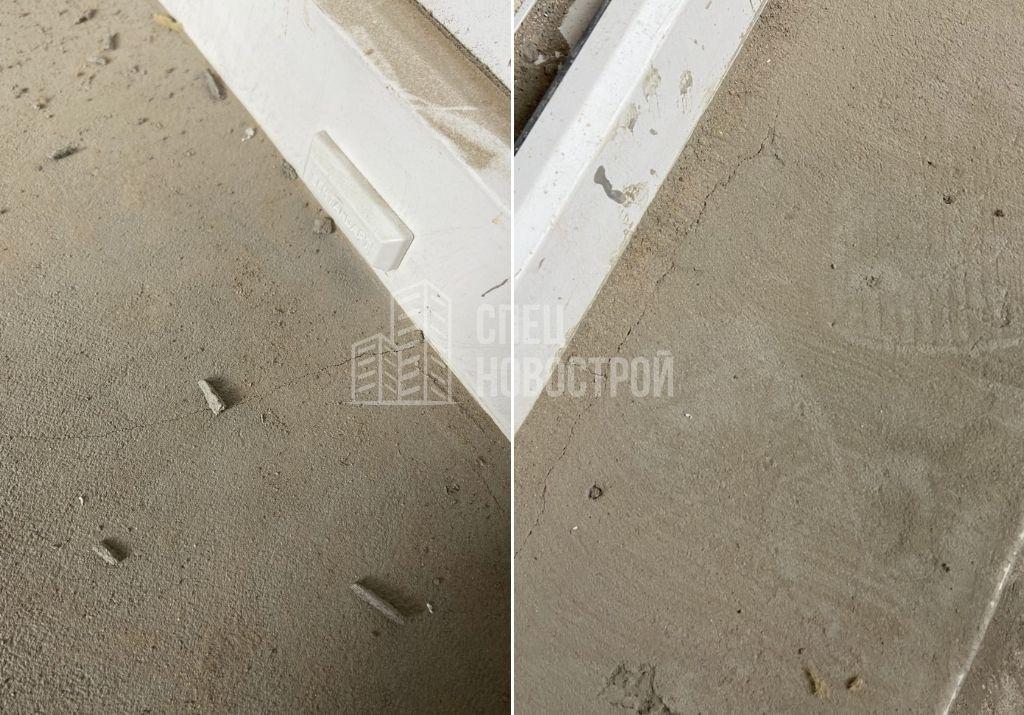 трещины на оштукатуренных поверхностях подоконника и порога лоджии