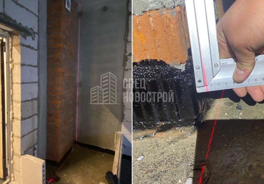 отклонение стены вентиляционной шахты от вертикали на 13 мм